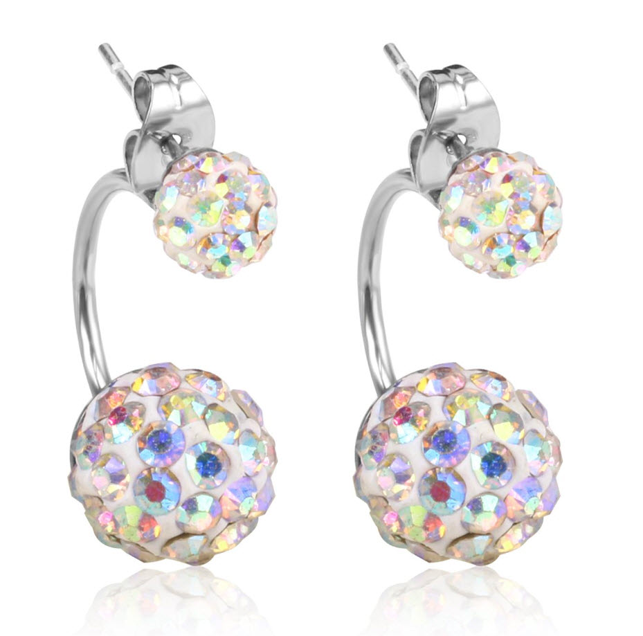 Double 2 Iridescent Glamour Ball Earrings